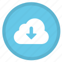 cloud, download, arrow, direction, down, round