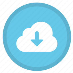 arrow, cloud, direction, down, download, round icon