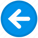 arrow, back, direction, left, round icon
