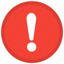 alert, caution, danger, error, exclamation, surprise, warning icon