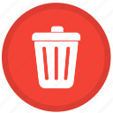 cancel, delete, remove, round, trash, trashcan icon
