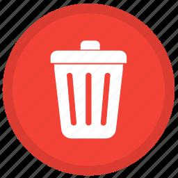 cancel, delete, remove, round, trash, trashcan icon