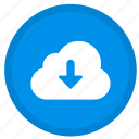 arrow, cloud, down, download, round icon