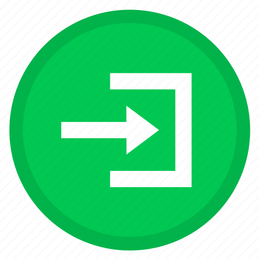 arrow, log in, right, round, sign in icon