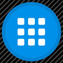 apps, grid, list, menu, round icon