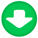 arrow, download, direction, down, round