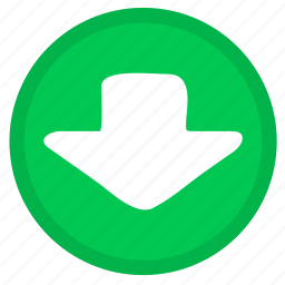 arrow, direction, down, download, round icon