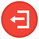 arrow, left, log out, round, sign out icon