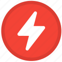 bolt, charge, electric, electricity, energy, power, round icon