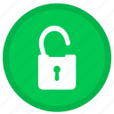 lock, password, protection, round, safe, security, unlock icon