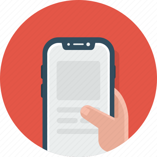 control, hand, phone icon