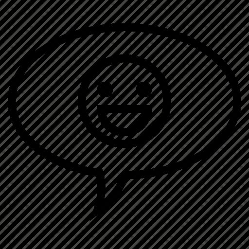 Bubble, comment, conversation, emoticon, smile emoticon, speech, speech bubble icon - Download on Iconfinder