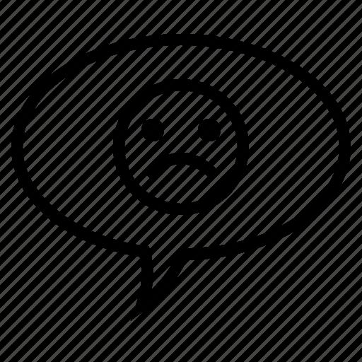 Bubble, comment, conversation, emoticon, sad face emoticon, speech, speech bubble icon - Download on Iconfinder