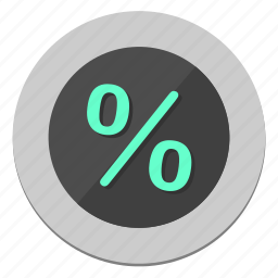circle, function, percent, round, sale icon