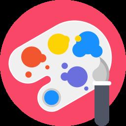 art, artistic, brush, materials, paint, paintbrush, palette icon