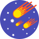 comets, rounded, cosmic, stars, space, mintie icon