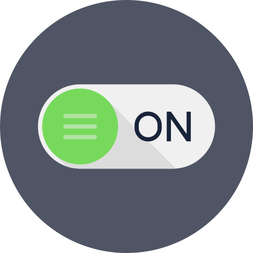 form, input, level, on, power, rounded, switch icon