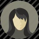 avatar, female, lady, profile, round, style, woman icon