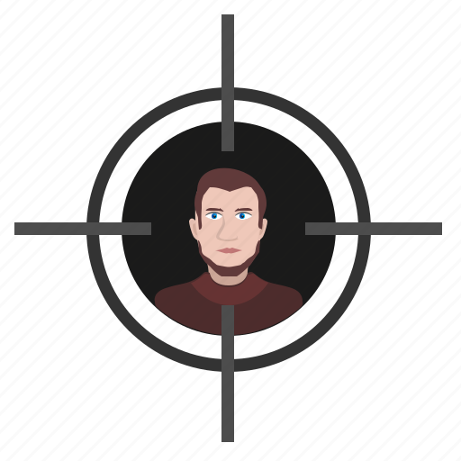 aim, face, head, shoot, snipper, target, terrorist icon
