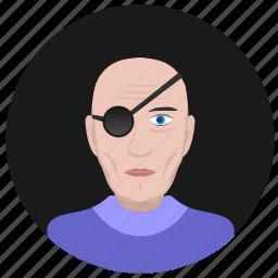 avatar, face, man, old, pirate, round, terrorist icon