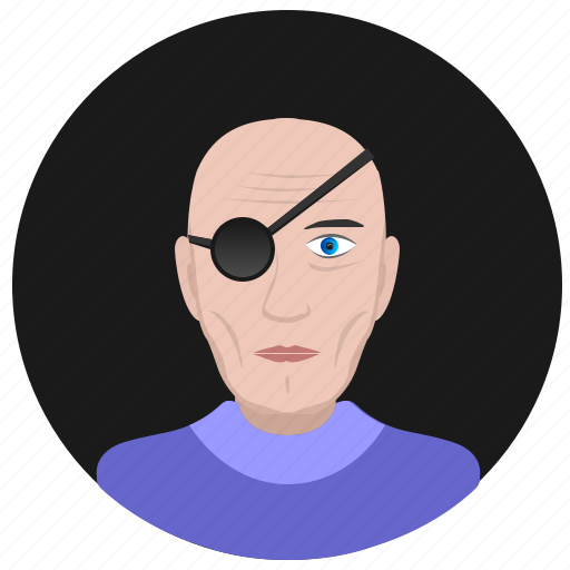 avatar, face, man, old, pirate, round icon