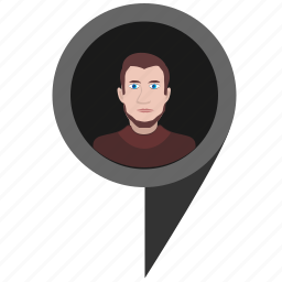 face, geo, location, man, place, poi, pointer icon
