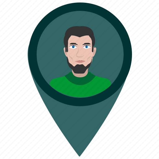 avatar, face, location, man, pointer icon