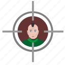 aim, face, man, punk, shooter, target, terrorist icon