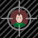 aim, face, man, punk, shooter, target icon