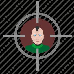 aim, face, man, punk, shooter, target, terrorist icon
