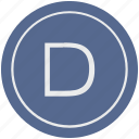 d, english, latin, letter, uppercase icon