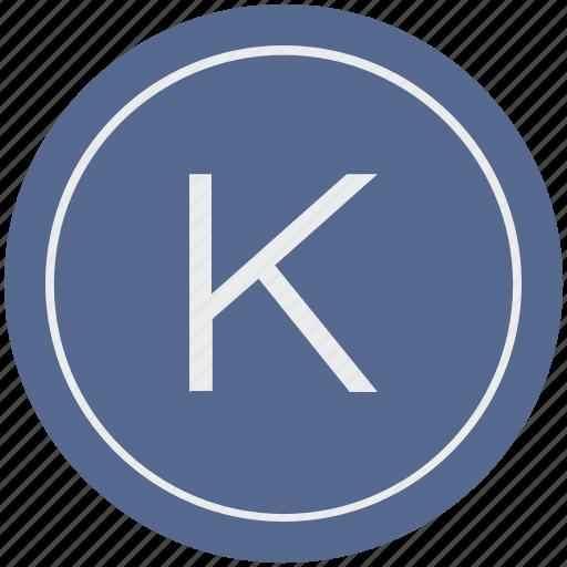 english, k, latin, letter, uppercase icon