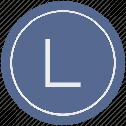 english, l, latin, letter, uppercase icon