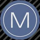 english, latin, letter, m, uppercase icon