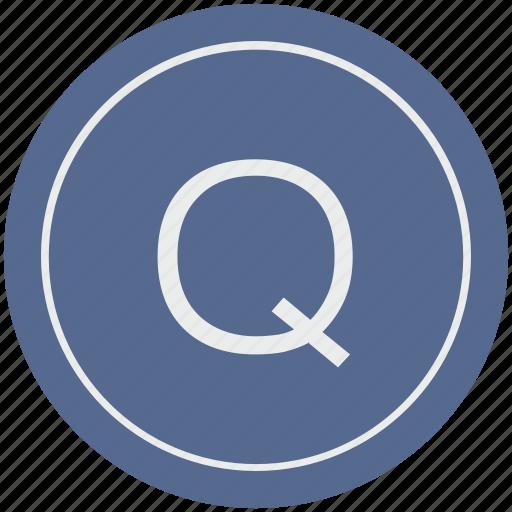 english, latin, letter, q, uppercase icon