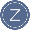 english, latin, letter, uppercase, z icon