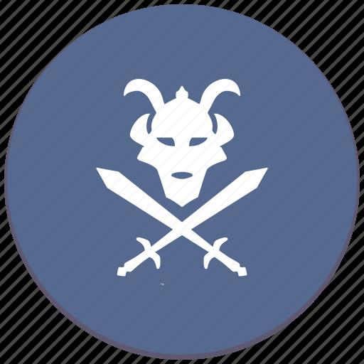Ronin, soldier, mask, sword, warrior icon