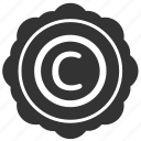 author, copyright, label, round, sticker icon