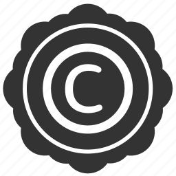 author, copyright, label, round, sticker icon
