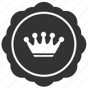 crown, king, label, queen, round, royal, sticker icon