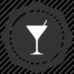 bocal, label, martini, round, sticker icon
