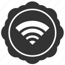 label, round, sticker, wifi icon