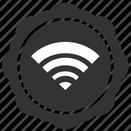 label, round, sticker, wifi icon