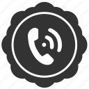 call, label, phone, round, sticker icon