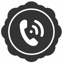 call, label, phone, round, sticker icon