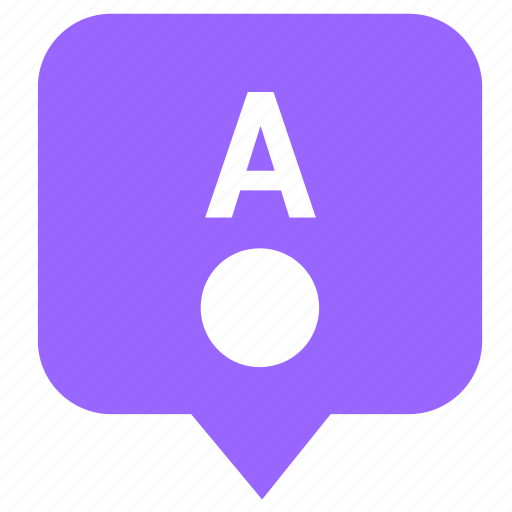 a, letter, location, map, pointer, way icon