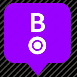 b, geo, letter, location, point, pointer, way icon