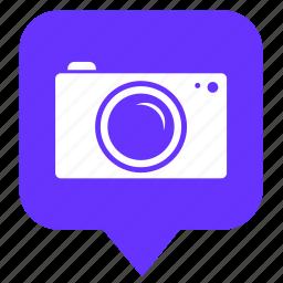 camera, geo, location, photo, pointer, shot icon