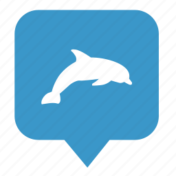 dolphin, geo, location, map, place, pointer icon
