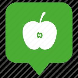 apple, fruit, geo, location, pointer icon
